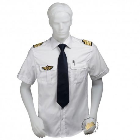 Chemise pilote - marin blanche opaque manches courtes, cintrée, avec épaulettes et poche stylo, coton
