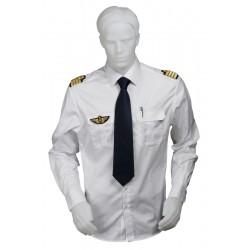 Chemise pilote et marin blanche tissu motif chevrons manches longues, cintrée, avec épaulettes et poche stylo, coton