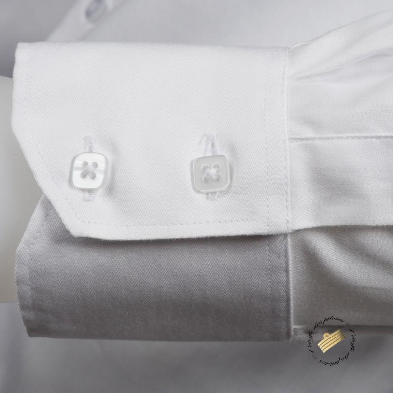 chemise homme blanche pilote et marin manches longues tissu chevrons. Black Bedroom Furniture Sets. Home Design Ideas