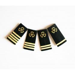 Epaulettes galonnées broderie Hélice Or pour les uniformes de la Marine Marchande