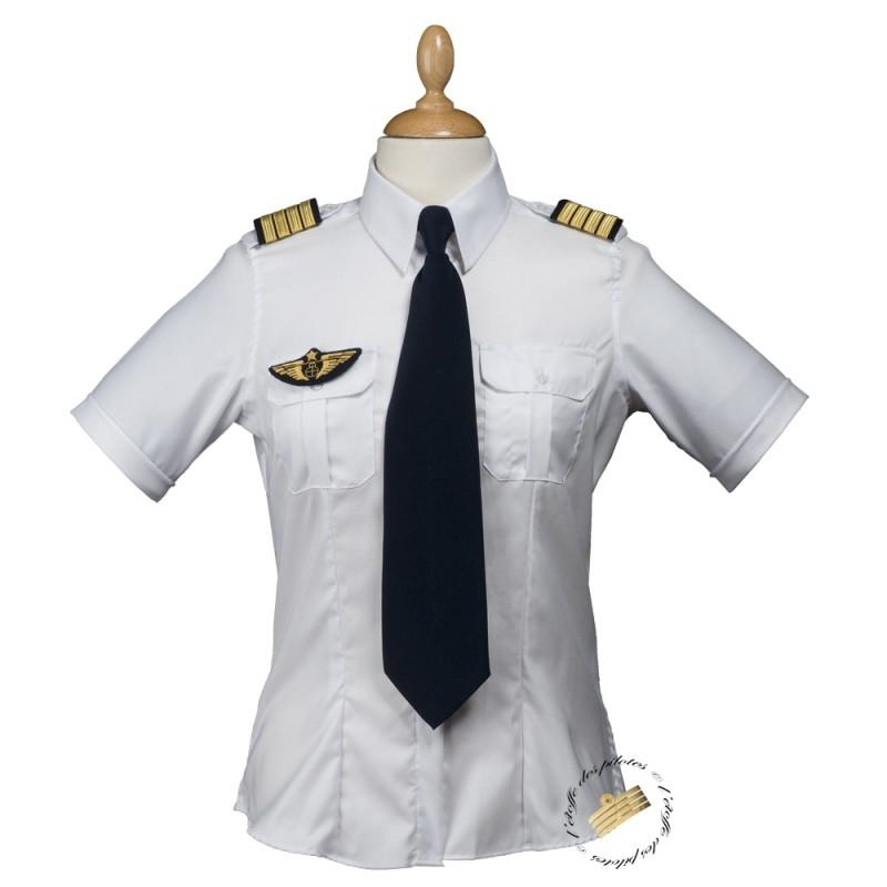 chemise femme blanche pilote manches courtes cintr e. Black Bedroom Furniture Sets. Home Design Ideas