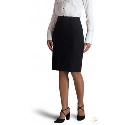Jupe noire, coupe droite, longueur 50 cm, fente milieu du dos
