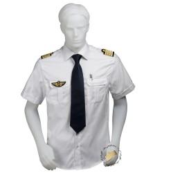 Chemise pilote et marin COUPE DROITE blanche tissu motif chevrons, manches courtes, avec épaulettes et poche stylo, coton