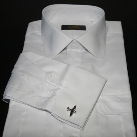 Chemise marin à manchettes, blanche, boutonnière de manchettes pour boutons, cintrée, avec épaulettes et poche stylo, coton