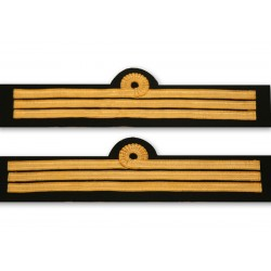 Tours de manches Second Capitaine Marine Marchande 3 galons Or 10 mm - Boucle Nelson