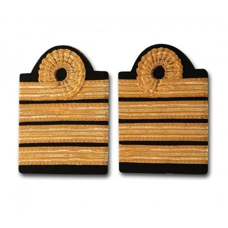 Fourreaux d'épaule Commandant - Capitaine - 4 galons Or - Boucle Nelson