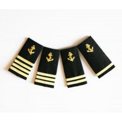 Epaulettes galonnées broderie Ancre pour les uniformes de la Marine Marchande