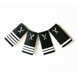 Epaulettes galonnées broderie Service (couverts couteau et fourchette) Argent pour les uniformes de la Marine Marchande