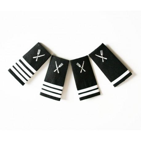 Epaulettes galonnées broderie Service - Couverts Argent pour les uniformes de la Marine Marchande