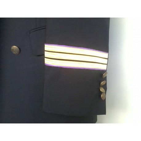 Tours de manches Officiers Mécaniciens - Galons Or 10 mm - Parement velours violet