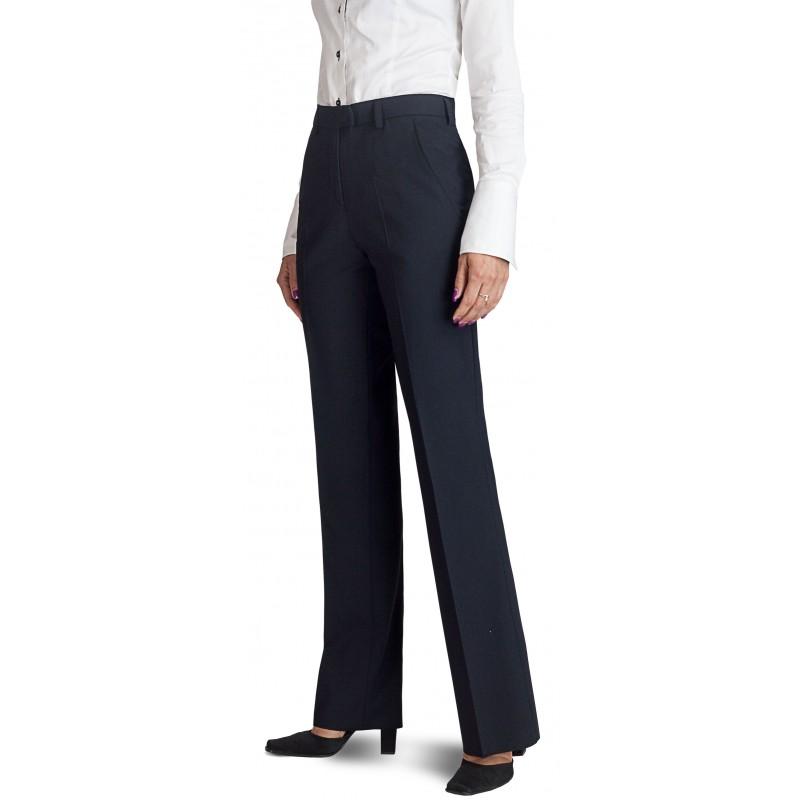 d5956bc14093e Pantalon femme Noir coupe classique 50% laine anti-tache ...