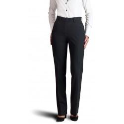 Pantalon femme Noir coupe classique 50% laine anti-tache