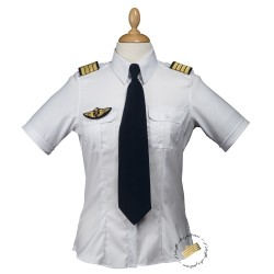 Chemise pilote femme blanche manches courtes, cintrée, avec épaulettes et poche stylo, coton