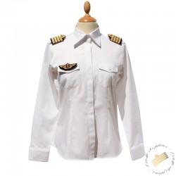 Chemise pilote femme blanche manches longues, cintrée, avec épaulettes et poche stylo, coton